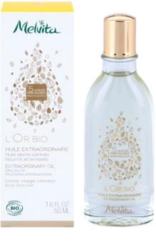 Melvita L'Or Bio óleo seco suave para rosto, corpo e cabelo