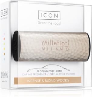 Millefiori Icon Incense & Blond Wood Car Air Freshener   Hammered Metal