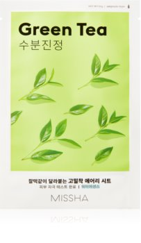 Missha Airy Fit Green Tea Calming Face Sheet Mask with Moisturizing Effect