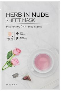 Missha Herb in Nude maska iz platna s posvetlitvenim in vlažilnim učinkom