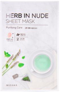 Missha Herb in Nude plátenná maska s čistiacim efektom