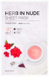 Missha Herb in Nude maska iz platna za posvetlitev in vitalnost kožo