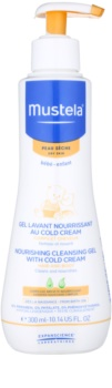 Mustela Bébé Dry Skin výživný čisticí gel s obsahem ochranného krému obnovující kožní bariéru pro děti od narození