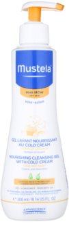 Mustela Bébé Dry Skin поживний очищуючий гель з вмістом захисного крему для відновлення бар'єру шкіри для дітей від народження