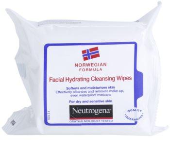 Neutrogena Face Care toalhitas de limpeza para pele seca a sensível