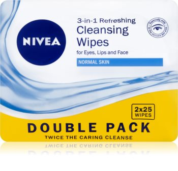 Nivea 3in1 Refreshing robčki za odstranjevanje ličil za normalno kožo