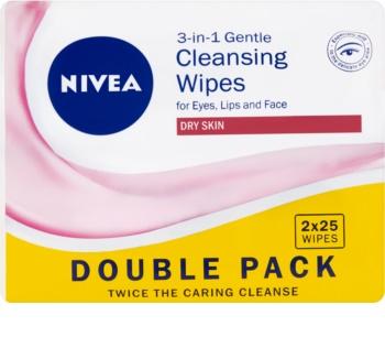 Nivea 3in1 Gentle jemné čistiace obrúsky 3v1