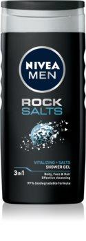 Nivea Men Rock Salt gel de douche visage, corps et cheveux