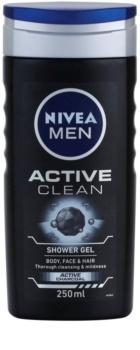 Nivea Men Active Clean gel de banho para o rosto, corpo e cabelo para homens