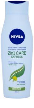 Nivea 2in1 Care Express Protect & Moisture šampon a kondicionér 2 v 1 pro všechny typy vlasů