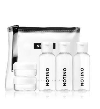 Notino Travel zestaw podróżny z 5 pustymi pojemniczkami w kosmetyczce WHITE
