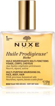 Nuxe Huile Prodigieuse Riche óleo seco multifuncional  para pele muito seca