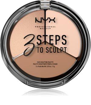 NYX Professional Makeup 3 Steps To Sculpt paleta para contorno de rosto