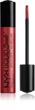 NYX Professional Makeup Liquid Suede™ Metallic Matte Tekutý vodeodolný rúž s metalickým finišom