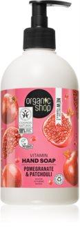 Organic Shop Organic Pomegranate & Patchouli Negovalno tekoče milo za roke  z dozirno črpalko