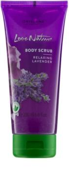 Oriflame Love Nature peeling corporal  com aroma de lavanda