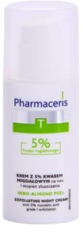 Pharmaceris T-Zone Oily Skin Sebo-Almond Peel creme facial de limpeza regulador para noite para tom da pele unificado