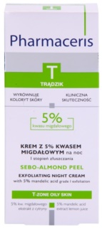 Pharmaceris T-Zone Oily Skin Sebo-Almond Peel Night Regulating And Cleansing Cream For Unified Skin Tone