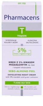 Pharmaceris T-Zone Oily Skin Sebo-Almond Peel nočný regulačný a čístiaci pleťový krém pre jednotný tón pleti