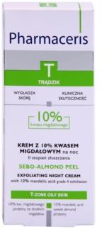Pharmaceris T-Zone Oily Skin Sebo-Almond Peel nočný regulačný a čístiaci pleťový krém pre obnovu povrchu pleti