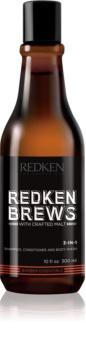 Redken Brews 3 en 1 : shampoing, après-shampoing et gel douche