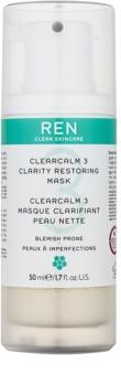 REN ClearCalm 3 rozjasňující maska pro problematickou pleť, akné