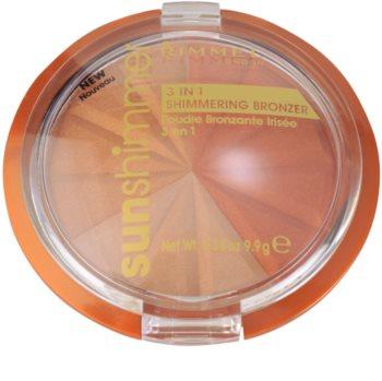 Rimmel Sun Shimmer 3 in 1 Shimmering Bonzer třpytivý bronzující pudr
