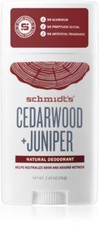 Schmidt's Cedarwood + Juniper desodorante en barra sin sales de aluminio