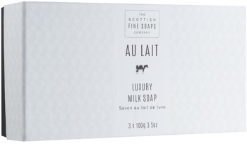 Scottish Fine Soaps Au Lait zestaw luksusowych mydeł nawilżających
