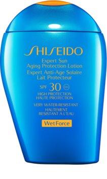 Shiseido Sun Care Expert Sun Aging Protection Lotion WetForce молочко для засмаги для шкіри обличчя та тіла SPF 30