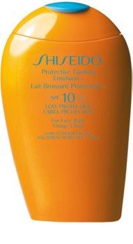 Shiseido Sun Care Protective Tanning Emulsion SPF10 Protective Tanning Emulsion for Face & Body SPF 10
