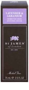 St. James Of London Lavender & Geranium borotválkozó krém férfiaknak 75 g utazó csomag