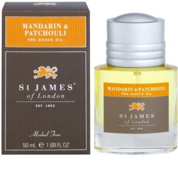 St. James Of London Mandarin & Patchouli óleo de barbear para homens 50 ml
