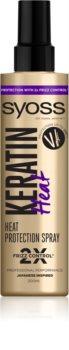 Syoss Keratin védő spray a hajformázáshoz, melyhez magas hőfokot használunk