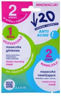 Under Twenty ANTI! ACNE máscara de limpeza e hidratação para pele problemática, acne