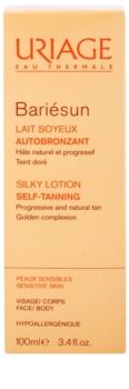 Uriage Bariésun Autobronzant шовковисте делікатне молочко для автозасмаги для обличчя та тіла