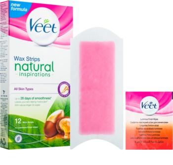 Veet Wax Strips Natural Inspirations™ voskové depilační pásky s arganovým olejem