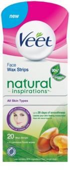 Veet Wax Strips Natural Inspirations™ Bandas de depilação facial com óleo de argan