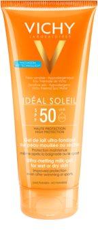 Vichy Idéal Soleil gel de lait ultra-fondant pour peaux mouillées ou sèches SPF 50