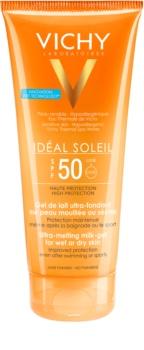 Vichy Idéal Soleil Ultra Smeltende Melkgel voor Vochtige of Droge Huid  SPF50