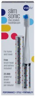 Violife Slim Sonic Silver Dots bateriový sonický kartáček s náhradní hlavicí