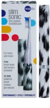 Violife Slim Sonic White Leopard elemes szonikus fogkefe tartalék fejjel
