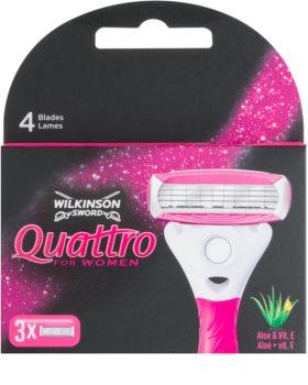 Wilkinson Sword Quattro for Women Aloe & Vit. E nadomestne britvice 3 kos