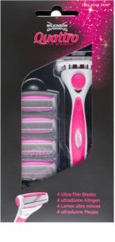 Wilkinson Sword Quattro for Women Aloe & Vit. E Shaver + Spare Blades 4 pcs