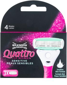 Wilkinson Sword Quattro for Women Sensitive náhradné žiletky 3 ks