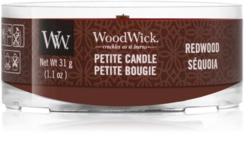Woodwick Red Wood mala mirisna svijeća s drvenim fitiljem