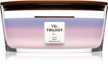 Woodwick Trilogy Botanical Gardens bougie parfumée 453,6 g avec mèche en bois (Hearthwick) (Lilac + Rose + Honeysuckle)