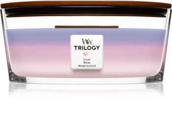 Woodwick Trilogy Botanical Gardens vela perfumada  453,6 g con mecha de madera (Hearthwick) (Lilac + Rose + Honeysuckle)
