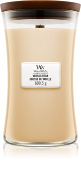 Woodwick Vanilla Bean vela perfumada com pavio de madeira 609,5 g