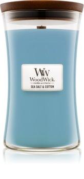 Woodwick Sea Salt & Cotton vela perfumado 609,5 g com pavio de madeira